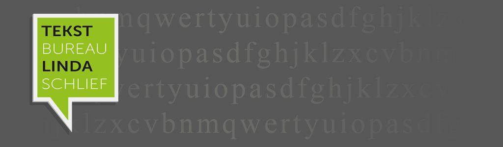 Lichtgroen logo van Tekstbureau Linda Schlief. Een vierkant spreekwolkje met daarin TEKST BUREAU LINDA SCHLIEF op een grijze achtergrond met lichtgrijze letters