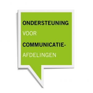 Lichtgroen vierkant spreekwolkje waarin staat: ondersteuning voor communicatie-afdelingen