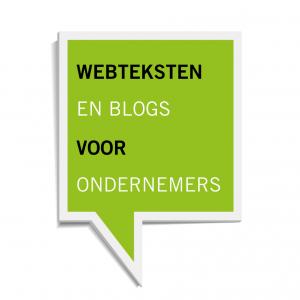 Lichtgroen vierkant spreekwolkje met daarin de tekst Webteksten en Blogs voor Ondernemers