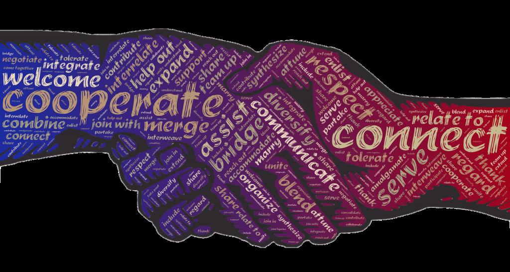 Twee geïllustreerde handen die elkaar vasthouden, paars gekleurd. Met daarin woorden als cooperate, diversity, communicate, assist, bridge. Als symbool voor inclusie